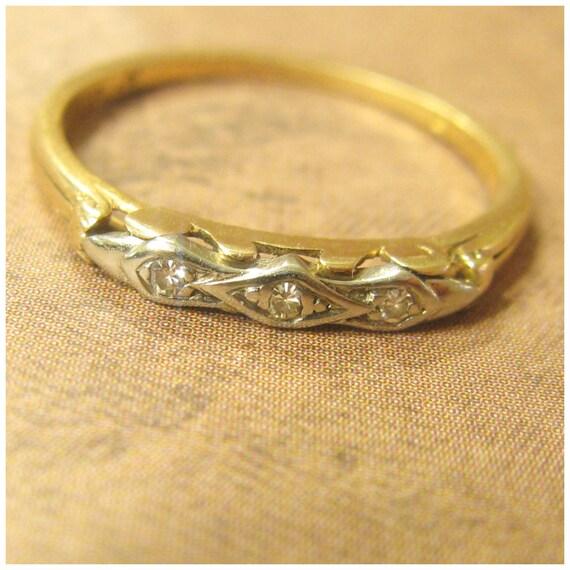 Art Deco Unique Diamond Wedding Ring 14k Two Tone Gold: Vintage Art Deco Bluebird 14K 18K Two Tone Diamond Wedding