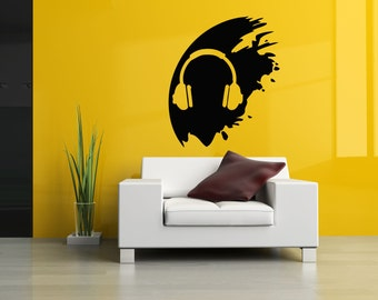 Wall Vinyl Sticker Decals Mural Room Design Pattern Music Melody Headphones Dirt bo314