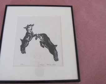 Elfriede Abbe Original Signed Woodcut Print, 'Kids' Limited Edition, Vermont Artist, Printmaker, Print of Goats, Kids