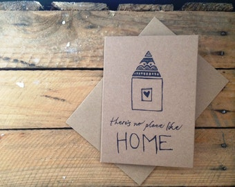 There's No Place Like Home Greeting Card ~ Brown Craft Card ~ Card for New Home or House Warming