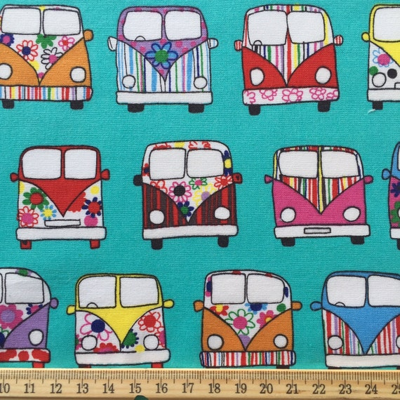 Poster Weights Etsy: Camper Van Print Cotton Fabric. Quilt Weight By