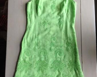 Vintage Lime Green Embroidered A-line Shift Dress