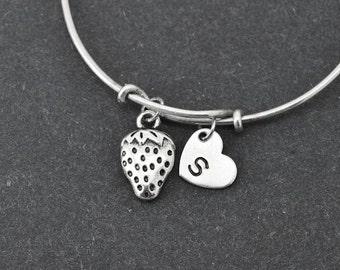 Strawberry Bangle, Sterling Silver Bangle, Strawberry Bracelet, Bridesmaid Gift, Personalized Bracelet, Charm Bangle, Initial Bracelet