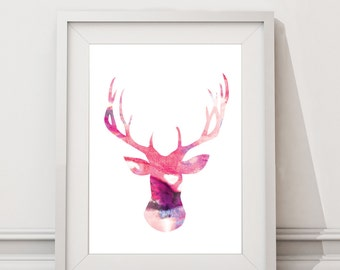 Pink Deer Head Digital Download Silhouette Watercolor Poster / Wall Art / Modern animal print / A4 A3 A2