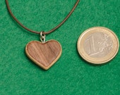 Wooden Heart Necklace Jewelry Gift, Natural Wood Jewelry, Walnut Necklace, Wood Heart Pendant,Girlfriend Gift, Wife Gift,Valentine gift