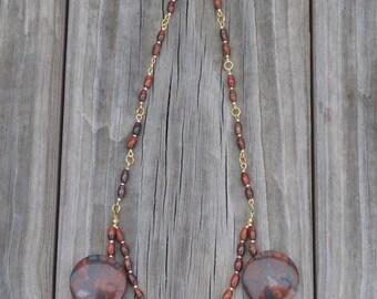 Necklace Red Jasper Beaded