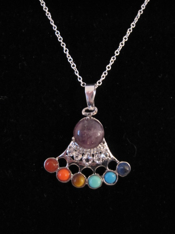 Multi-stone Chakra crown pendant with free 18 925