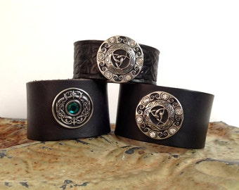 Celtic Black Leather Cuff-Trinity Circle Dragon Eye-Tooled Celtic Knot-Silver Crystal Conchos-Wide Black Leather Wristband-Renaissance,LARP