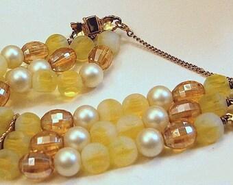 Yellow three strand bead and pearl bracelet