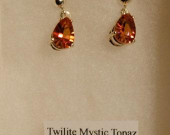 Twilight Mystic Topaz Faceted Oval Sterling Silver Dangle Earrings