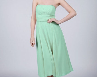 Mint Green Strapless Short Bridesmaid/Prom Dress by Matchimony