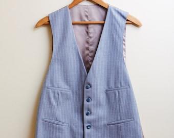 1970s Blue Pinstripe Waistcoat • 41