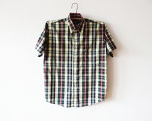 Colorful Plaid Short Sleeve Mens Shirt Boyfriend Button up Checked Green Red Yellow Shirt Cotton Casual Mens Work Wear Size Small To Medium