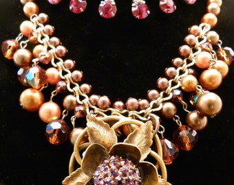 Stunning Vintage Rhinestone Necklace With Pearls And Crystals, V39
