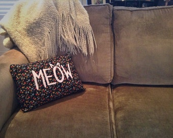 Hand Painted Meow Pillow!  Floral & Pink