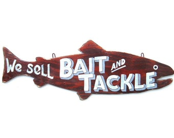 Bait and Tackle Sign Art, Fishing, Retro, Hand Painted Fish Sign
