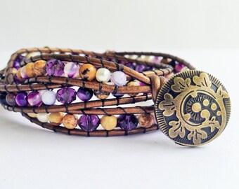 Purple Stripe Agate and Picture Jasper Gemstone Beaded Leather Triple Wrap Bracelet