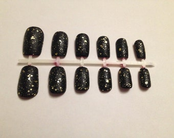 Matte Black Glitter Nails Featuring Red Underside Press On Fake Nails False Nails