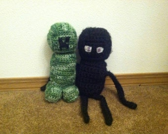 Minecraft crochet, plush toy Enderman crochet, creeper crochet, creeper, minecraft