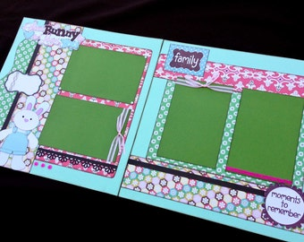 12x12 Easter Scrapbook Page, 12x12 Premade Easter Scrapbook, 12x12 Premade Scrapbook pages, 12x12 Easter Page Kit, 12x12 Scrapbook Page