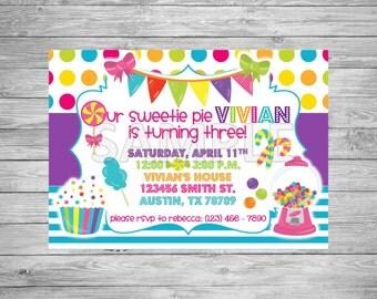 Candy Birthday Party Invitation, Candyland Invitation, Sweet Shoppe Invitation, Printable Candy Birthday Invitation