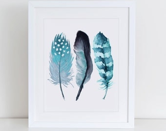 Feathers Watercolor Art Print, Watercolour Wall Art, Instant Download,  Printable Home Decor, Digital Art Print, Watercolor Art, Feather