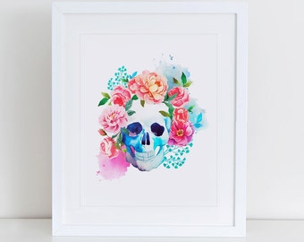 Floral Skull Art Print, Instant Download,  Printable Home Decor, Digital Art Print, Watercolor Skull, Modern Wall Art Illustration