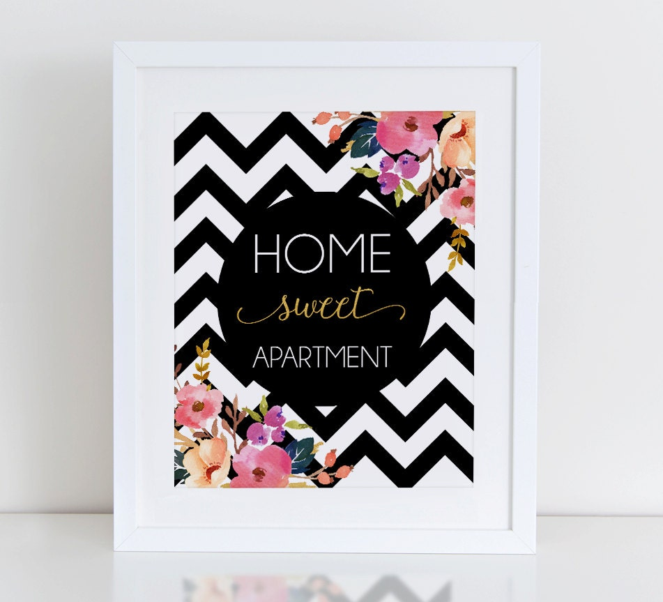 Home sweet apartment printable art print floral wall art Home sweet home wall decor