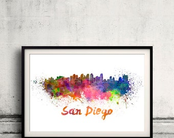 San Diego skyline in watercolor over white background with name of city 8x10 in. to 12x16 in. Poster Wall art Illustration Print  - SKU 0254