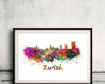 Zurich skyline in watercolor over white background with name of city 8x10 in. to 12x16 in. Poster Wall art Illustration Print  - SKU 0341