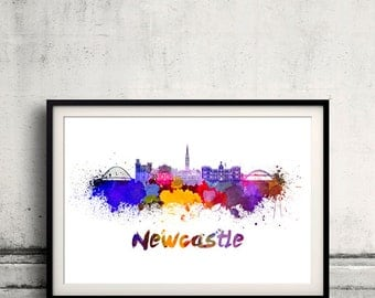 Newcastle skyline in watercolor over white background with name of city 8x10 in. to 12x16 in. Poster Wall art Illustration Print  - SKU 0379