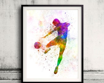 Man flying kicking playing soccer football 8x10 in. to 12x16 in. Poster Digital Wall art Illustration Print Art Decorative - SKU 0517
