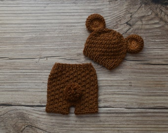 Baby Set -  Baby -  Knit Baby Hat -  Knit Beanie Hat with Ears - Teddy Bear - Teddy Bear hat with diaper cover - made to order -Photography