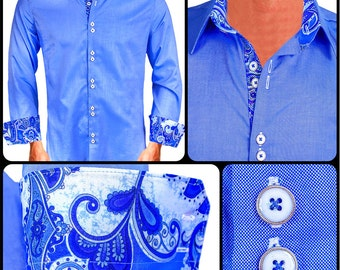 Bright Blue  with White/Blue Paisley Men's Designer Dress Shirt - Made To Order in USA