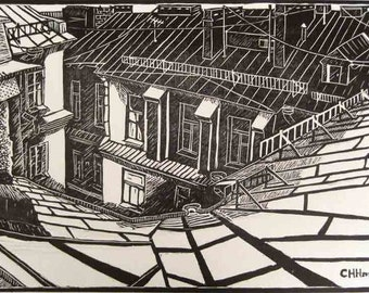 Sitting on the roof Original Linocut Relief Print