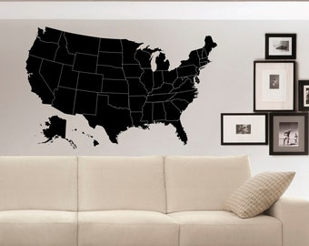 US Map Wall Decals Geographic Vinyl Stickers- United States Map Wall Decal Home Decor for Living Room- American Map Vinyl Wall Decal C050