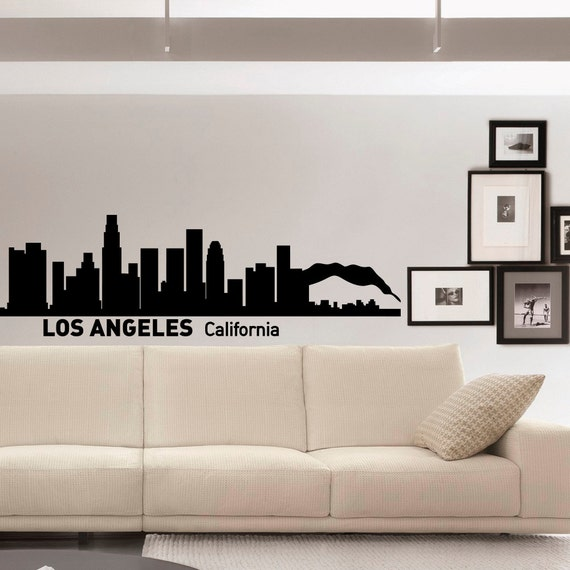 Wall decals vinyl stickers los angeles skyline silhouette for Home decor los angeles