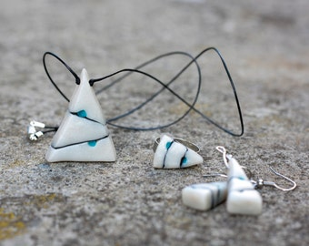 White necklace, ring and earrings, Polymer Clay