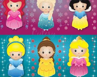 CLIP ART - Princess Clipart, Digital Clipart, Cute Clipart, Princess Clip Art, Digital Clip Art