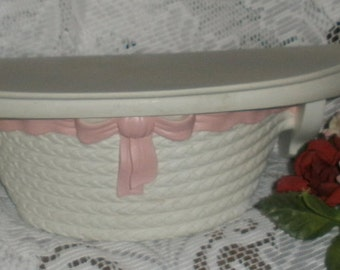 SALE Vintage Homco Syroco Pink Ribbon White Shelf  Cottage Chic Paris Apartment