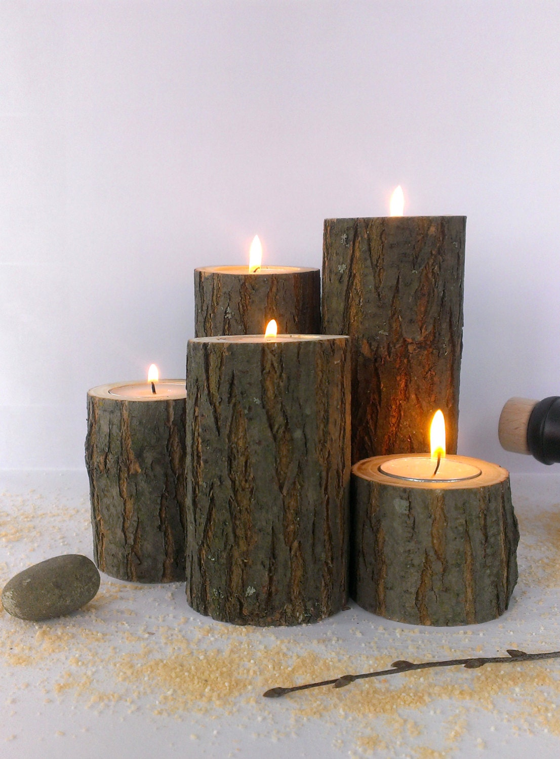 Acacia tree branch candle holders tea light holder rustic for Rustic house candles