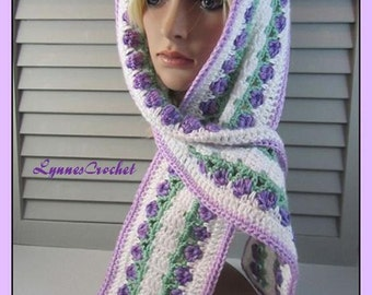 Little Purple Tulips on this Hand Crocheted Scarf, Stole, Wrap . . .