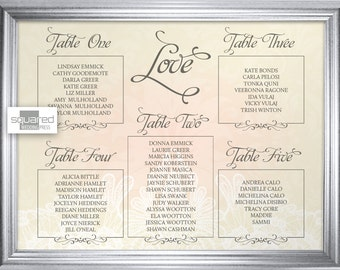 Blush Lace Love Wedding Seating Chart - Custom Designed Escort Sign - Made to Order Design - Wedding Reception Seating - Rustic Shabby Chic