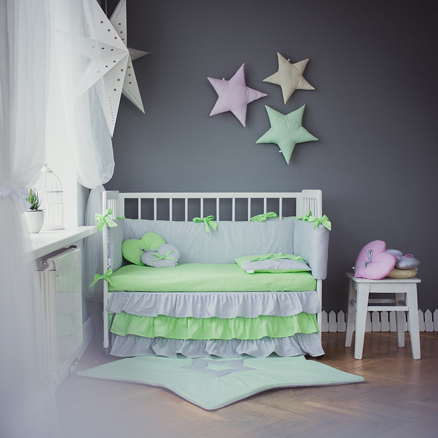 crib bedding grey green baby bed sets green by cotandcot on etsy. Black Bedroom Furniture Sets. Home Design Ideas