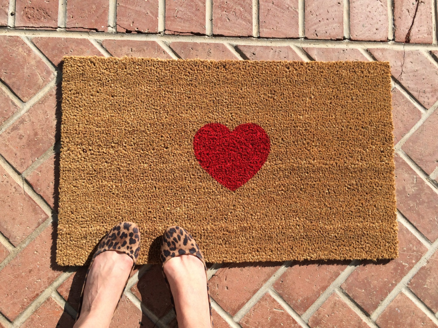 Heart Welcome Mat Hand Painted Customizable Doormat