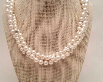 Statement bridal necklace, Pearl Bridal necklace, Bridal Jewelry, Multi strand bridal necklace
