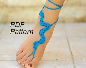 CROCHET PATTERN #5, Blue barefoot sandals, Beach wedding, PDF Patterns, Crochet Pdf
