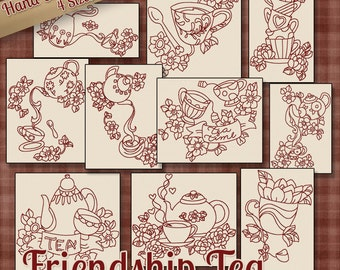 SALE Hand Embroidery Patterns Redwork Designs Friendship Tea in 4 Sizes PDF Instant Download Teapots Teacups Kitchen Towel Dishcloth