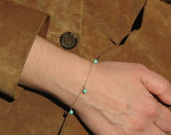 """Turquoise Bracelet, 14k Gold Filled or 925 Sterling Silver Bracelet, Delicate Bracelet, Turquoise Stone Beaded Bracelet, """"Syros"""" Bracelet"""