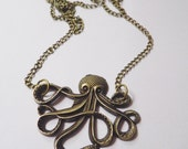 Long bronze octopus necklace, huge octopus pendant on a long bronze chain necklace, kitsch sealife pendant